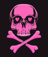 Pink skull with bones. Illustration for t-shirt print. Vector fashion illustration