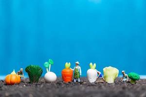 Miniature gardeners harvesting vegetables, agricultural concept