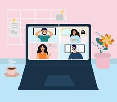 Video conference illustration vector