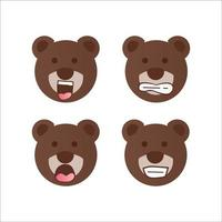 vector de diseño de dibujos animados de colección de sonrisa de cara de oso