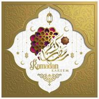 Ramadan Kareem Greeting Card Islamic Floral Pattern vector design with arabic calligraphy