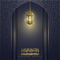 Ramadan Kareem Greeting Islamic Illustration background vector design with beautiful arabic calligraphy and beautiful lantern