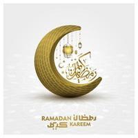 Ramadan Kareem Greeting Islamic Illustration background vector design with beautiful arabic calligraphy and moon