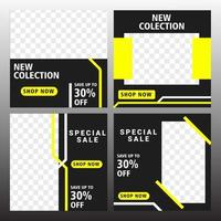 conjunto de plantilla de banner cuadrado mínimo editable. color de fondo negro y amarillo con forma de línea de rayas. vector