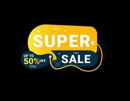 Promotional sale banner template design. Super sale, 50 percent off. vector