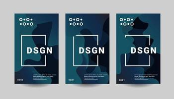 modern Posters set with gradient shapes composition. vector
