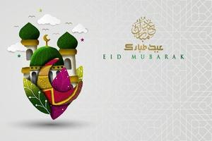 Eid Mubarak greeting Islamic Illustration Background vector design with beautiful mosque and arabic calligraphy. translation of text Blessed Festival