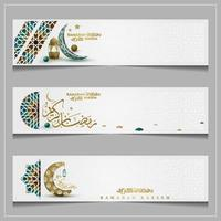 three Ramadan Kareem Greeting background islamic pattern vector design with arabic calligraphy. Translation of text May Allah Bless you during the holy month