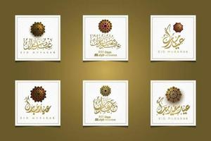Six eid Mubarak Greeting Islamic floral pattern vector design with arabic calligraphy. translation of text Blessed Festival