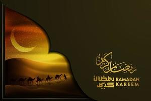 Ramadan Kareem Greeting ISlamic Illustration Background vector design with arabian on camels, desert and arabic calligraphy