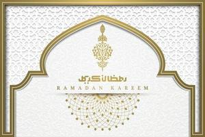 Ramadan Kareem Greeting Background Islamic Pattern vector Design with beautiful crescent and arabic calligraphy