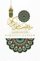 Ramadan Kareem Greeting card Islamic Floral Pattern vector design with arabic calligraphy