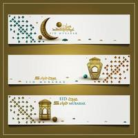 Three Eid Mubarak Greeting Background Islamic Floral Pattern vector design with beautiful lanterns and arabic calligraphy