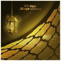 Eid Mubarak Greeting Islamic Illustration Vector design with Beautiful lantern and arabic calligraphy