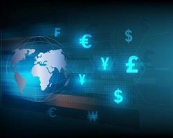 Blue abstract speed network currency exchange technology design vector