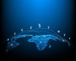 Concept network of money transfers and currency exchanges between countries of the world vector
