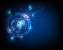 Technology currency exchange world network, speed abstract on blue background vector