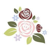 Roses composition in pastel colors vector