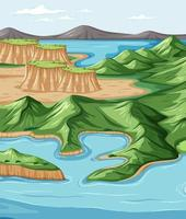 Bird's eye view with nature park landscape scene vector
