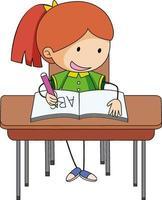 una niña haciendo la tarea, personaje de dibujos animados de doodle vector