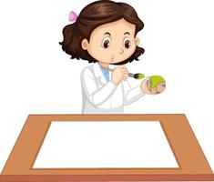 Cute girl wearing scientist uniform with blank paper on the table vector