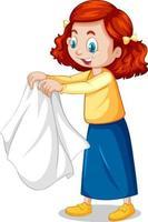 Girl taking off her coat cartoon character vector