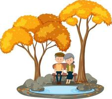 Old couple sitting in the park with many autumn tree vector