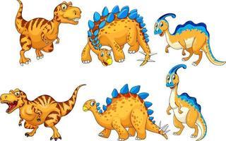 Set of orange dinosaur cartoon character vector