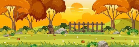 Autumn season with garden at sunset time horizontal scene vector
