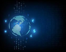 Technology, world currency exchange and high speed digital network, abstract blue