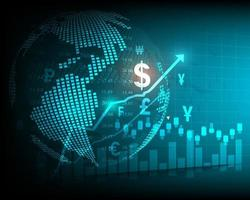 Stock market analysis and stock trading, currency symbols, business graphs and global money transfers vector
