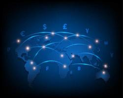 Global currency icon exchange network on blue background vector