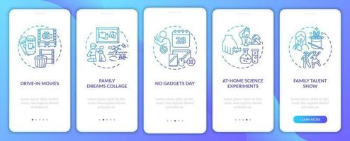 Family fun ideas onboarding mobile app page screen with concepts vector