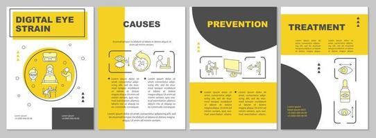 Digital eye strain brochure template vector