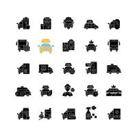 Servicio de taxi iconos de glifos negros en espacio en blanco vector