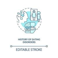 History of eating disorders blue concept icon vector