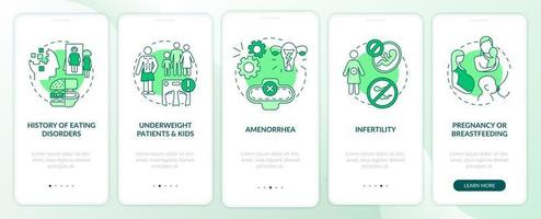 Intermittent fasting precaution green onboarding mobile app page screen with concepts