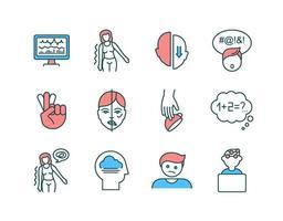 conjunto de iconos de color rgb de salud cerebral vector