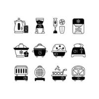 Small kitchen appliance black linear icons set vector