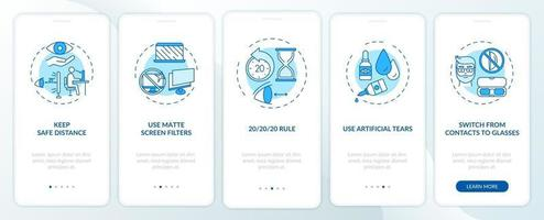 Digital eyestrain prevention tips onboarding app page screen with concepts vector