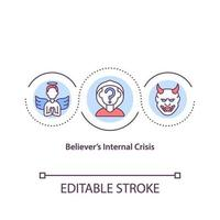 Believers internal crisis concept icon vector