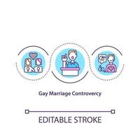Gay marriage controversy concept icon vector
