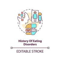 History of eating disorders concept icon vector