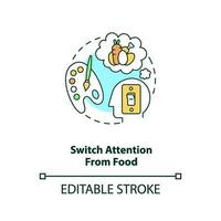 Switch attention from food concept icon vector