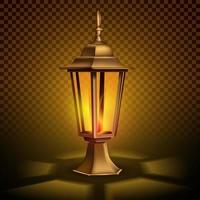 Strange, vintage retro lantern with a candle. vector