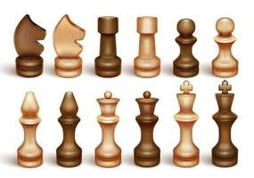 Chessmen. Chess is a board game and sport. King, queen, knight, rook, knight, bishop, pawn. 3D realistic illustration. Isolated on a white background Vector