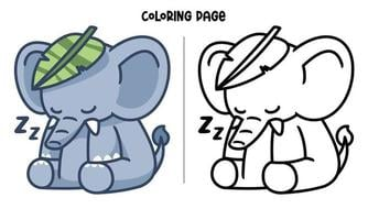 An Elephant Sleeping With A Leaf Coloring Page vector