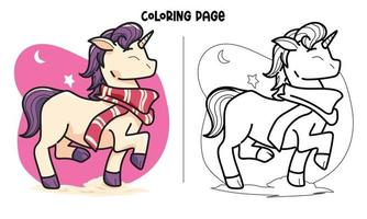 New Scarf Unicorn Coloring Page vector