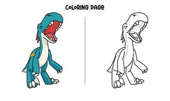 Blue Dinosaur Roaring Coloring Page vector