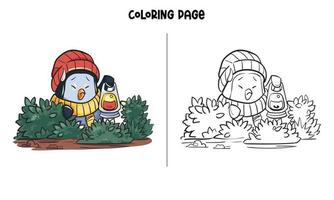 A Lost Penguin In The Jungle Coloring Page vector